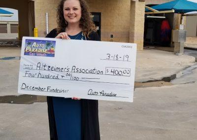 Auto Paradise Car Wash - 2018 Fundraiser Check Presentation - December - Altzheimer's Association