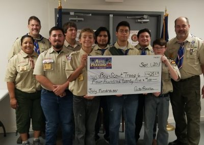 Auto Paradise Car Wash - 2018 Fundraiser Check Presentation - July - Boy Scout Troop 6