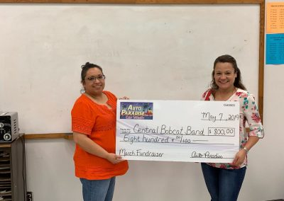 Auto Paradise Car Wash - 2018 Fundraiser Check Presentation - March - Central Bobcat Band